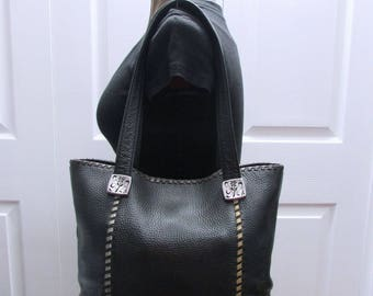 Vintage Brighton Roomy Black Leather Laced Tote , Brighton Shoppers Bag, Brighton Hobo, Brighton Satchel, Brighton Leather Shoulder Purse