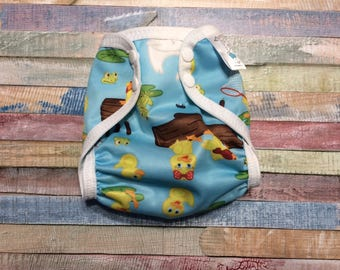 Duck Pond Polyester PUL Cloth Diaper Cover With Aplix Hook & Loop Or Snaps You Pick Size XS/Newborn, Small, Medium, Large, or One Size