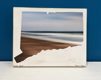 Connecticut Map, Beach Photography, Brown and Blue, Seascape, CT, 8x10, Seascape, Wall Art