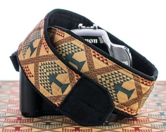 Tribal Camera Strap, Teal, dSLR, Trees, Canon camera strap, Nikon camera strap, Mirrorless camera, SLR,Native American Inspired,  030