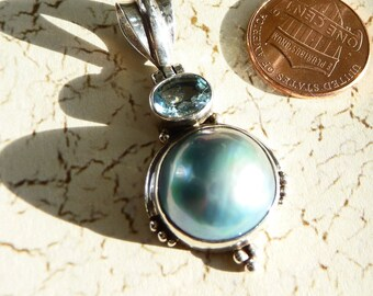 Sterling Silver Mabe Pearl and Blue Topaz Pendant on Etsy by APURPLEPALM