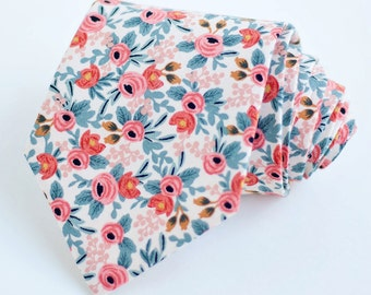 Necktie, Neckties, Mens Necktie, Neck Tie, Floral Neckties, Groomsmen Necktie, Groomsmen Gift, Rifle Paper Co - PRE-ORDER Rosa In Peach