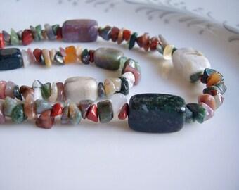 Jasper gemstone double strand necklace, jasper jewelry, multistrand necklace, chunky necklace, nugget neclace