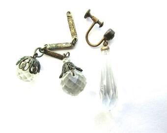 3 Art Deco Crystal Drops Pendants Charms Bits Pieces Vintage Parts Supply