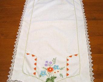 Dresser Scarf, Runner. Embroidered Flowers, Vintage Linen, White, Doily Runner, Handmade,  Rustic, French Country Decor, Shabby Chic