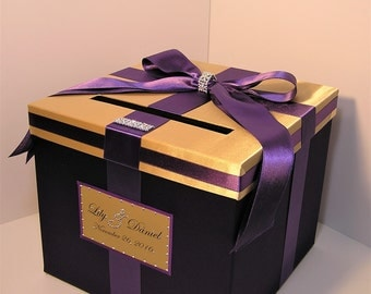 Wedding  Card Box Purple and Gold Gift Card Box  Money Box Holder-Customize your color