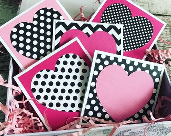 Pink & Black heart Mini Note Cards  - Set of 5 - with white Envelopes - Valentines Day card with heart - Chevron and Polka Variety Pack