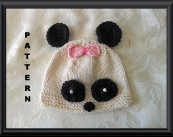Knitted Hat Pattern Baby Hat Pattern Newborn Hat Pattern Panda Bear Hat Knitting Pattern Panda Hat Pattern Halloween Baby Hat: PANDA