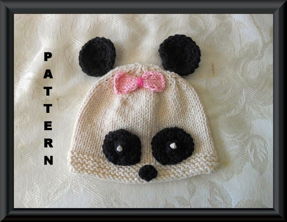 Knitting Pattern For Panda Hat : Knitted Hat Pattern Baby Hat Pattern Newborn Hat Pattern Panda