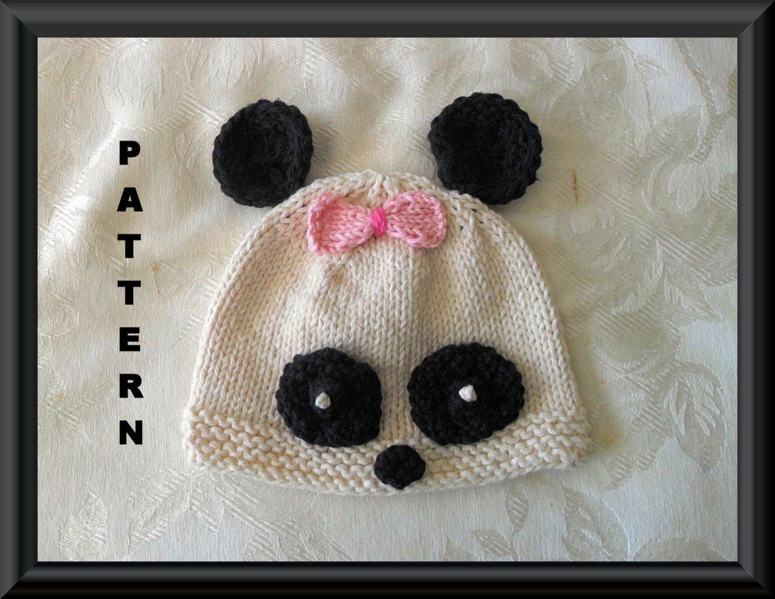 Knitted Hat Pattern Baby Hat Pattern Newborn Hat Pattern Panda