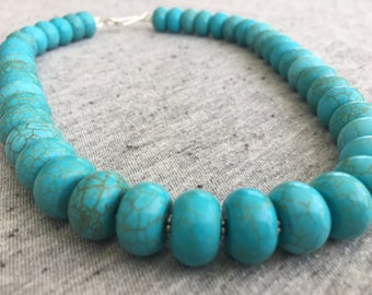 Turquoise Necklace, Turquoise Jewelry, Blue Magnesite, Womens Necklace, Womens Jewelry, Statement Necklace, Beaded Necklace, Unique Jewelry
