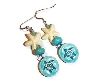 Sea Turtle Starfish Earrings Ceramic Sea Turtle Ceramic Starfish Beach Ocean Nature Summer