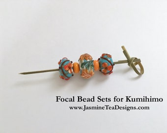 Turquoise With Orange Raised Flower Motif Focal Bead Sets, Set of Five Focal Beads, Large Hole Focal Beads For Beaded Kumihimo