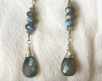 Labradorite Tear Drop Earrings with Stacked Labradorite Rondelles