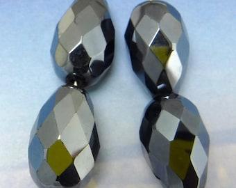 Teardrop Glass Beads 4 pcs 18x12 mm Hematite Faceted Czech B-125