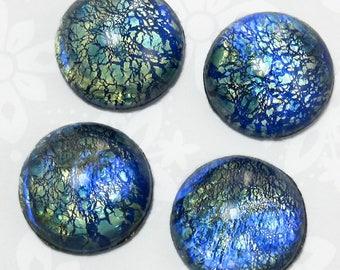 Blue Opal Cabochon 4 pcs 16 mm Vintage Glass Cabochon Stones S-10