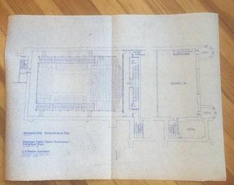 Vintage 1983 Pittsburgh Public Theater Blueprints.