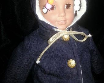 18in. American Girl Hooded Doll Jacket with button front and Gold cording at neck Fully lined with fur