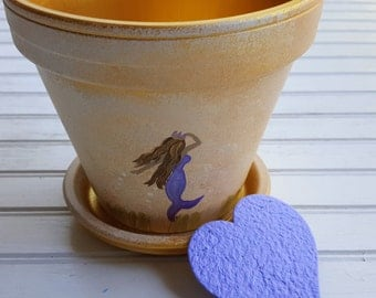 Painted Flower Pot - Mermaid Theme - Purple and Gold - Boho Decor - Planter with Mermaid