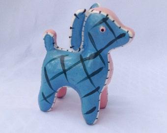 Vintage pink and blue patchwork puppy dog figurine. Ceramic. Knick knack.