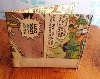 Speed Buggy car racer vintage comic book vinyl wallet.  Handmade from vintage comic books.