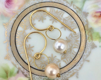 Gold Plated Faux Pearl Dangles