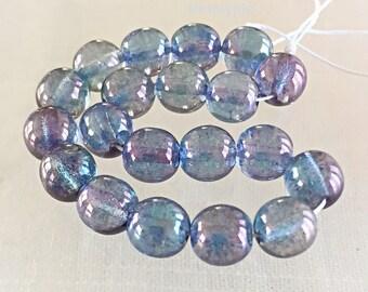 Aqua Amethyst Lumi Czech Glass Beads 8mm Druk 20 Luster Round Beads