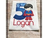 Personalized Superhero shirt - Superman birthday shirt - Super boy Applique Shirt with number- Superboy birthday shirt - Super boy shirt