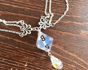 dungeons and dragons pendant dice pendant D8 translucent pendant dice jewelry dice necklace transparent geek