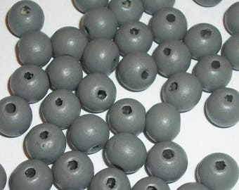 Wood beads, 10mm round dyed wooden beads for jewelry making -- Grey  100 loose beads
