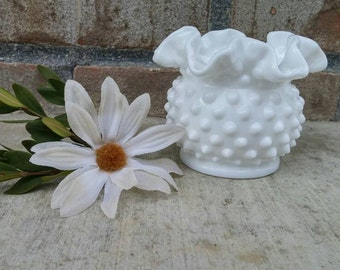 "Vintage Fenton Hobnail Milk Glass Double Crimped Vase Or Rose Bowl No. 3854-3"" Circa 1950-1990"
