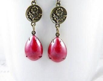 SALE 50% off Antiqued Red Flower Earrings Pink Rose Earrings Vintage Style Earrings Garden Jewelry Flower Jewelry Boho Earrings