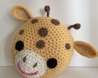 Crochet Giraffe pillow, crochet pillow, Giraffe pillow,