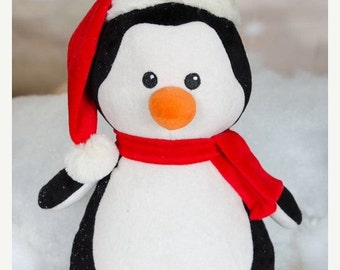 Penguin  Personalized Keepsake Birth Square Plush Stuffed Animal Cubbie Christmas