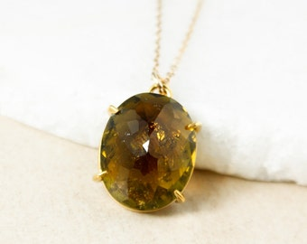 Yellow Tourmaline Oval Necklace, Tourmaline Pendant, 14kt Gold Filled