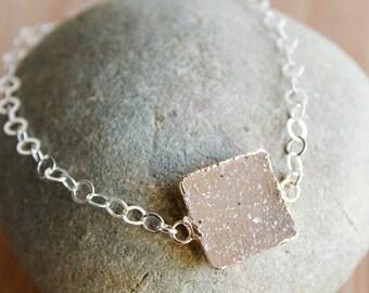 50 OFF SALE Square Agate Druzy Quartrz Gemstone Bracelet - Multiple Colours - Choose Your Stone