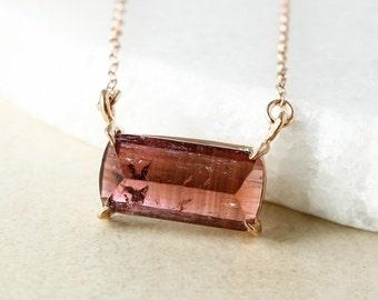 CHRISTMAS SALE Pink Tourmaline Bar Necklace - Horizontal Tourmaline Necklace - 14kt GF