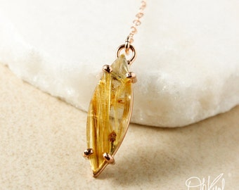 Gold Leaf Natural Rutile Quartz Y Necklace – Choose Your Pendant