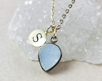 50% OFF Initial Charm and Blue Druzy Necklace – Sterling Silver or 14K Gold Filled Chain