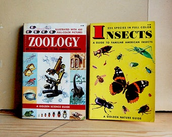 Vintage Book Pair Science Paperbacks Insects and Zoology by Golden Press 1950s Fifties Education.