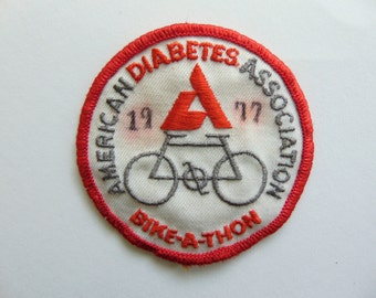 Vintage Diabetes Bike-a-thon Patch Badge 1970s