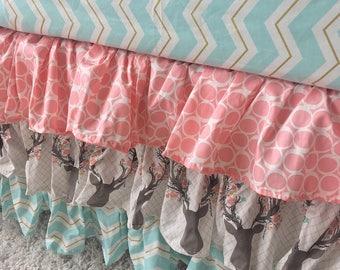Girly Stag Crib Skirt, Deer Head Crib Skirt, Blush Crib Skirt, Blush Ruffled Crib Skirt, Mint Crib Skirt, Floral Ruffled Crib Skirt