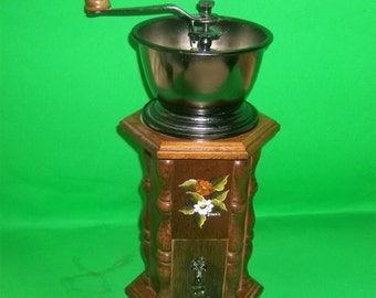 Retro Tall Wooden Coffee Grinder with Hand Painted Flowers
