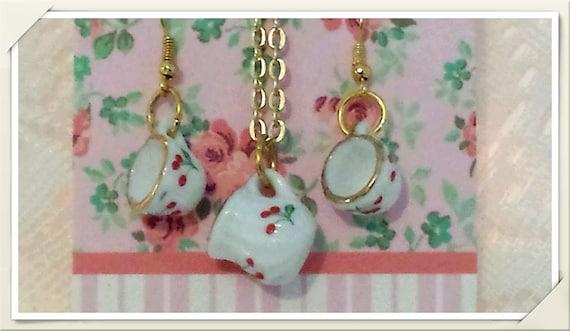 Vintage Cherry Pattern, Dainty Mini Porcelain Teacup Hook/Dangle Earrings, Mini Pitcher Pendant Necklace Set