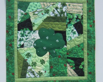 Irish Shamrock St. Pat's Quilted Patchwork Mug Rug, Table Topper, Wall Quilt with Ladybugs