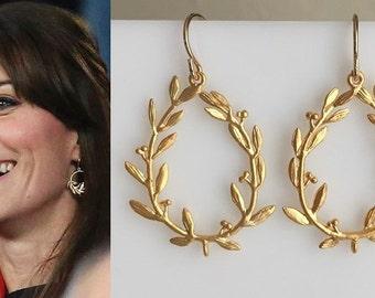 Kate Middleton Gold Leaf Branch Hoop Earrings- e707