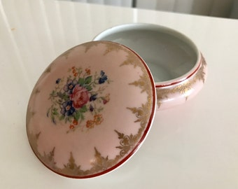 Pretty Vintage F.M.  Porcelain Trinket Box Limoges France -- Pink with gold