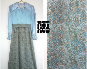 Beautiful Vintage 70s Pastel Blue Satin Top and Brocade Bottom Maxi Dress with Large Pointed Collar!