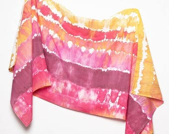 ON SALE 15 OFF Unique Hand Painted Silk Cotton Summer Sarong Pink Purple Orange Yellow Colors Scarf Wrap Colorful Beach Holidays