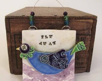 Pottery Bird Wall Plaque Fly Away Ceramic Decoration
